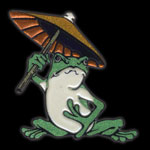 608 frog with umbrella