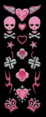 APS05 Skull & butterfly pink
