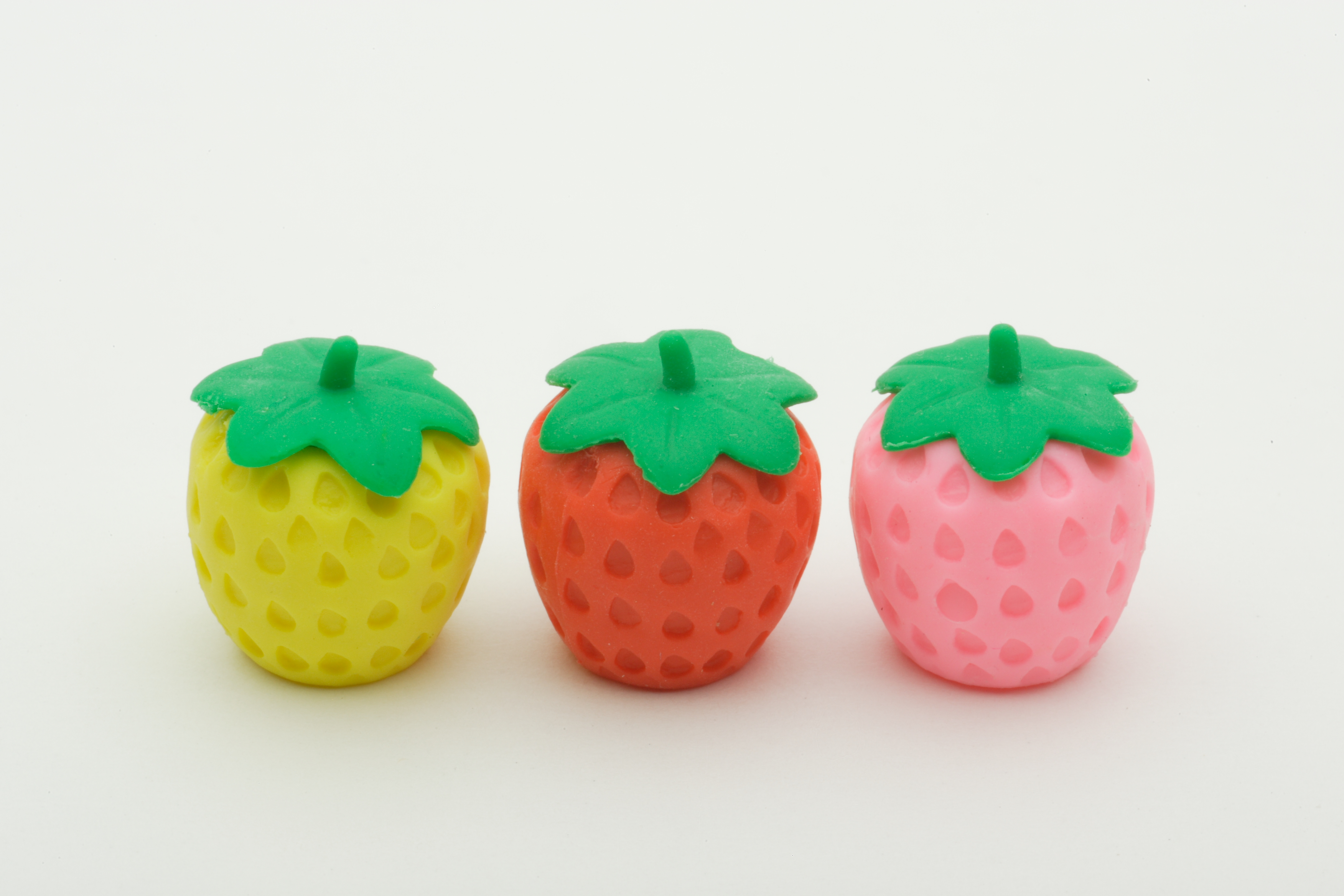 245 3 pcs of Pencil Top Erasers Strawberry