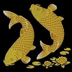 K072 Gold koi with lotus