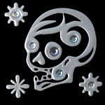 ts02sTattoo Silver S Skull (Side) 22x22mm 580